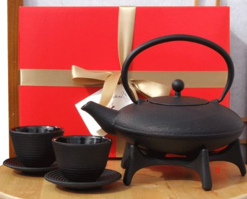 Gift Box - Cast iron flared teapot kettle Black Tetsubin cups & Star trivet - 1 litre with circular
